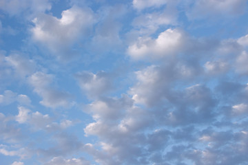 Beautiful blue sky with clouds, nature background