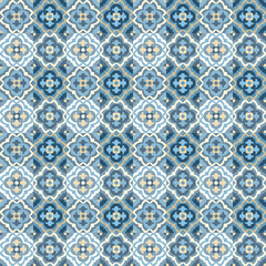Floor tiles - seamless vintage pattern with quatrefoils.  Patchwork style pattern. Seamless vector background. Plain colors - easy to recolor.