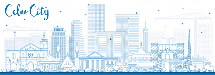Outline Cebu City Philippines Skyline with Blue Buildings.