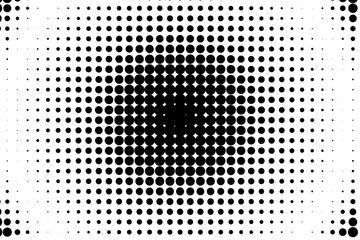 Comic background. Halftone dotted retro pattern with circles, dots Vector illustration. Black and white