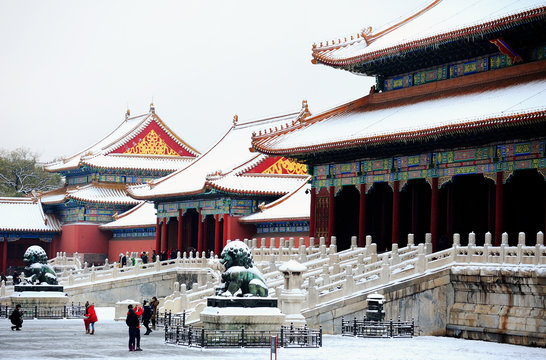 The Forbidden City after a heavy snow,Beijing,China.