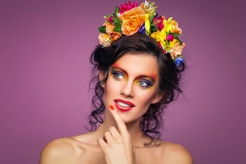 beautiful girl with flower accessories