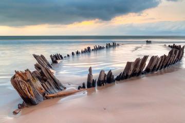 Wall Murals Shipwreck The Sunbeam ship wreck on the Rossbeigh beach, Co. Kerry, Ireland