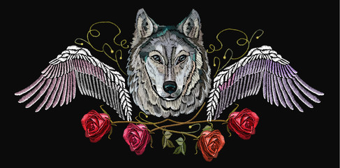 Embroidery wolf, wings and roses. Embroidery wolf. Fashion modern embroidery wolf  head red roses and wings, rock print for clothes, textiles, t-shirt design