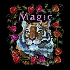 Embroidery tiger and roses. Portrait of beautiful tiger and red roses template for fashion clothes, textiles, t-shirt design