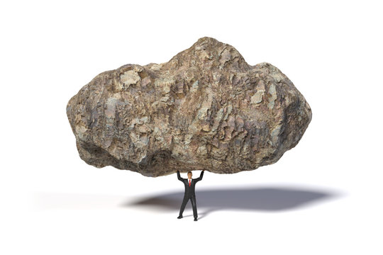 toy miniature businessman figure lifting a huge and heavy stone, concept isolated on white background