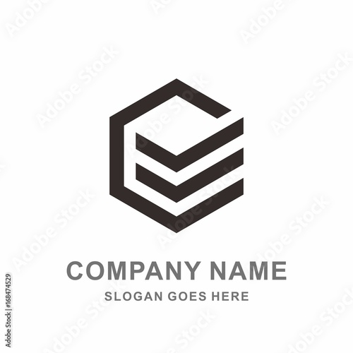 Monogram Letter E Geometric Square Cube Hexagon Architecture Construction Business Company Stock Vector Logo Design Template