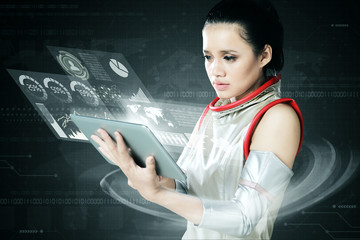 Futuristic woman with graphic business virtual