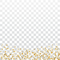 Gold stars confetti celebration isolated on white transparent background. Golden stars abstract decoration. Glitter confetti Christmas card, New Year celebration. Shiny floor Vector illustration