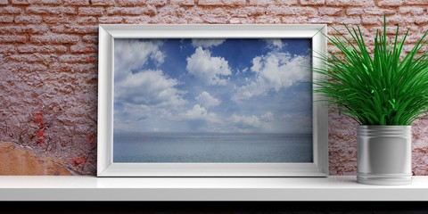 Frame with blue sky and sea on a white shelf. 3d illustration