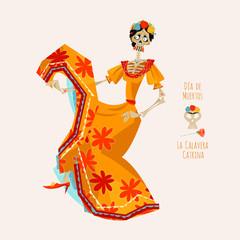 La Calavera Catrina. Elegant Skull. Dia de Muertos. Dancing skeleton.