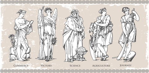 Ancient Roman and Greek historical figure and character set illustration in vintage vector file image on isolated background with wall texture