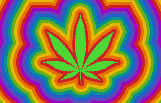 Colorful psychedelic rainbow high with marijuana / cannabis leaf flat illustration