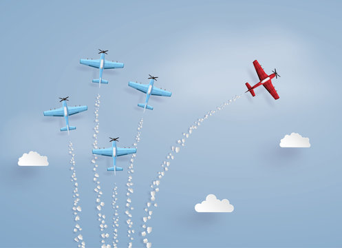 .  concept of success ,difference vision and target. red plane separated from the squadron ,illustrations made the same paper art and craft style.