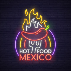 Hot Food neon sign, bright signboard, light banner. Mexico logo, emblem