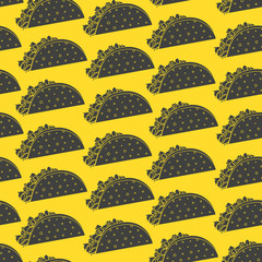 Mexican fast food seamless pattern with black negative space tacos on yellow background. Nice spanish fastfood taco texture for textile, wallpaper, background, cover, banner, bar and cafe menu design