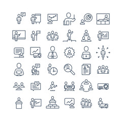 Simple Set of Business People Related Vector Line Icons. Contains such Icons as One-on-One Meeting, Workplace, Business Communication, Team Structure and more.