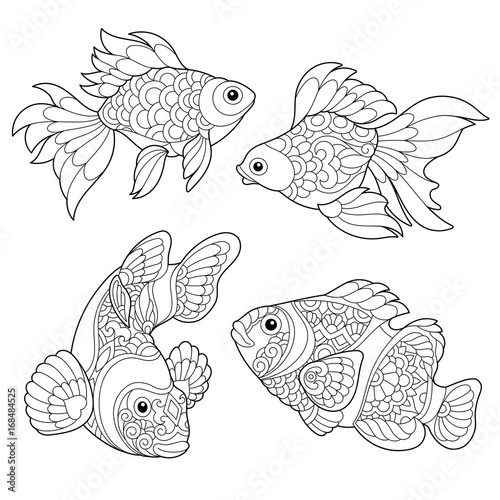 coloring page of goldfish and clown fish freehand sketch drawing for adult antistress coloring book - Goldfish Coloring Page