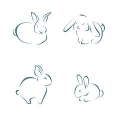 Image of rabbits on white background, outline, sketch, vector illustration