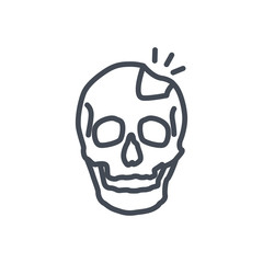 Broken Bones Human Body line Icon skull