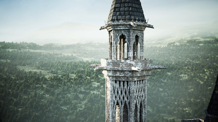 Old fairytale castle on the hill. aerial view. 3d rendering.