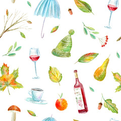 Seamless pattern of a wine, floral, umbrella, rowan ,coffee, apple and pear.Autumn picture.Watercolor hand drawn illustration.White background.