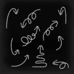 Hand drawn chalk painting vector grunge  arrows set