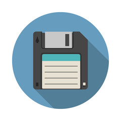Magnetic floppy disc icon in flat style with long shadow, isolated web icon, colored