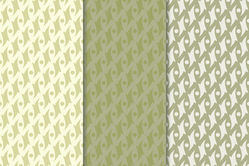 Olive green geometric seamless backgrounds