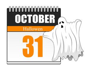 Halloween Ghost - Calendar Vector
