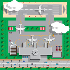 Airport Infrastructure. View from above. Vector illustration.