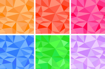 Set of colored polygonal seamless patterns