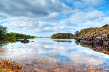 Aluminium Prints Reflection Connemara lake and mountains in Co. Mayo, Ireland