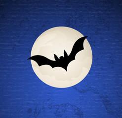 Bat Flying in Moonlight Vector Background