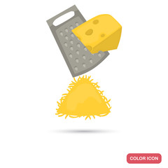 Shredding cheese on grater color icon fro web and mobile design