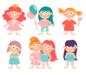 Set of illustrations with girls. Different types of activities and emotions