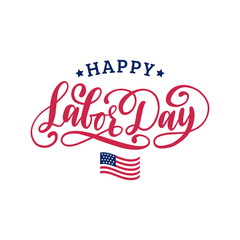 Vector Happy Labor Day Sale card. Poster with hand lettering of national american holiday. Special offer banner.