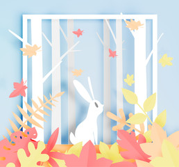 Rabbit in the woods with paper art style and beautiful pastel color