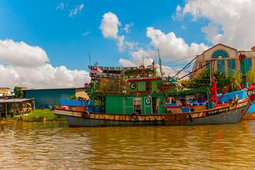 The port with the ships. Sarawak river. Kuching, Borneo, Malaysia