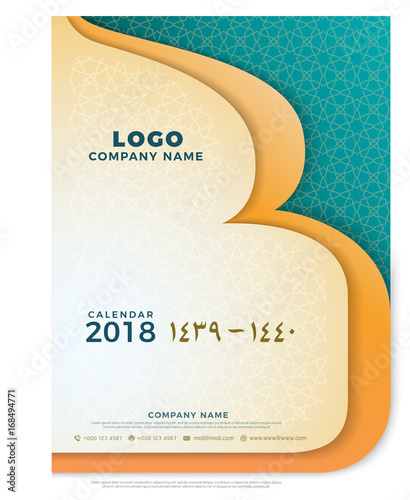 1439, 1440 Hijri islamic calendar cover 2018 design template