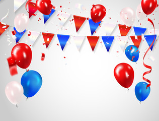 Red White blue balloons, confetti concept design Columbus Day, greeting background. Celebration Vector illustration.