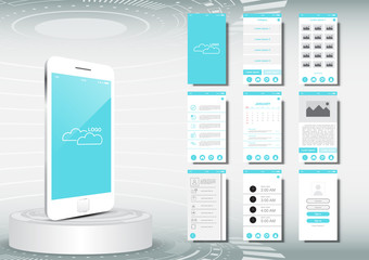 UI, UX for mobile application template mockup