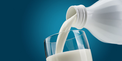 Pouring fresh milk into a glass