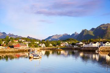 Fotomurales - Kabelvag village early morning, Lofoten Islands, Norway