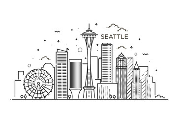 Banner of Seattle city in flat line trendy style. Seattle city line art. Wall mural