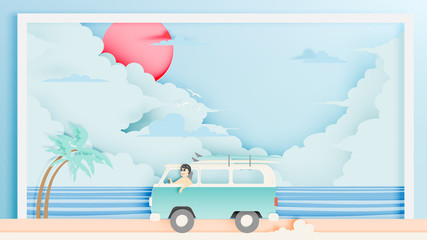 Road trip on the beach with paper art style and pastel color scheme