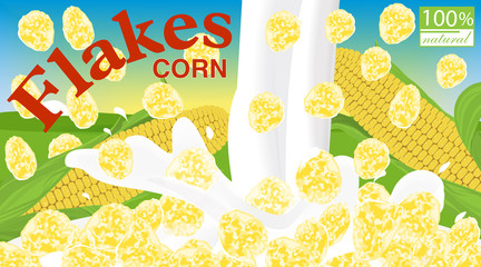 Corn flakes. Design for box. Milk pouring. Label for cereal package. Background field, sky and sun. Vector