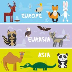 Cute animals set Camel crocodile alligator hare rabbit fox gannet bat deer eagle raccoon panda wolf, kids background Europe Asia Eurasia animals, bright colorful banner. Vector