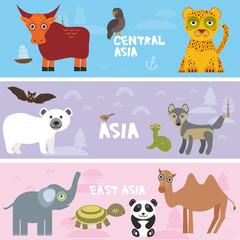 Cute animals set elephant Camel elephant leopard tortoise wolf bull eagle polar bear panda bat snake, kids background Asia animals, bright colorful banner. Vector