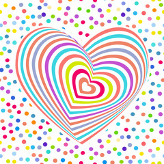 multi-colored rainbow heart on white background. Optical illusion of 3D three-dimensional volume. pastel colors polka dot background. Vector